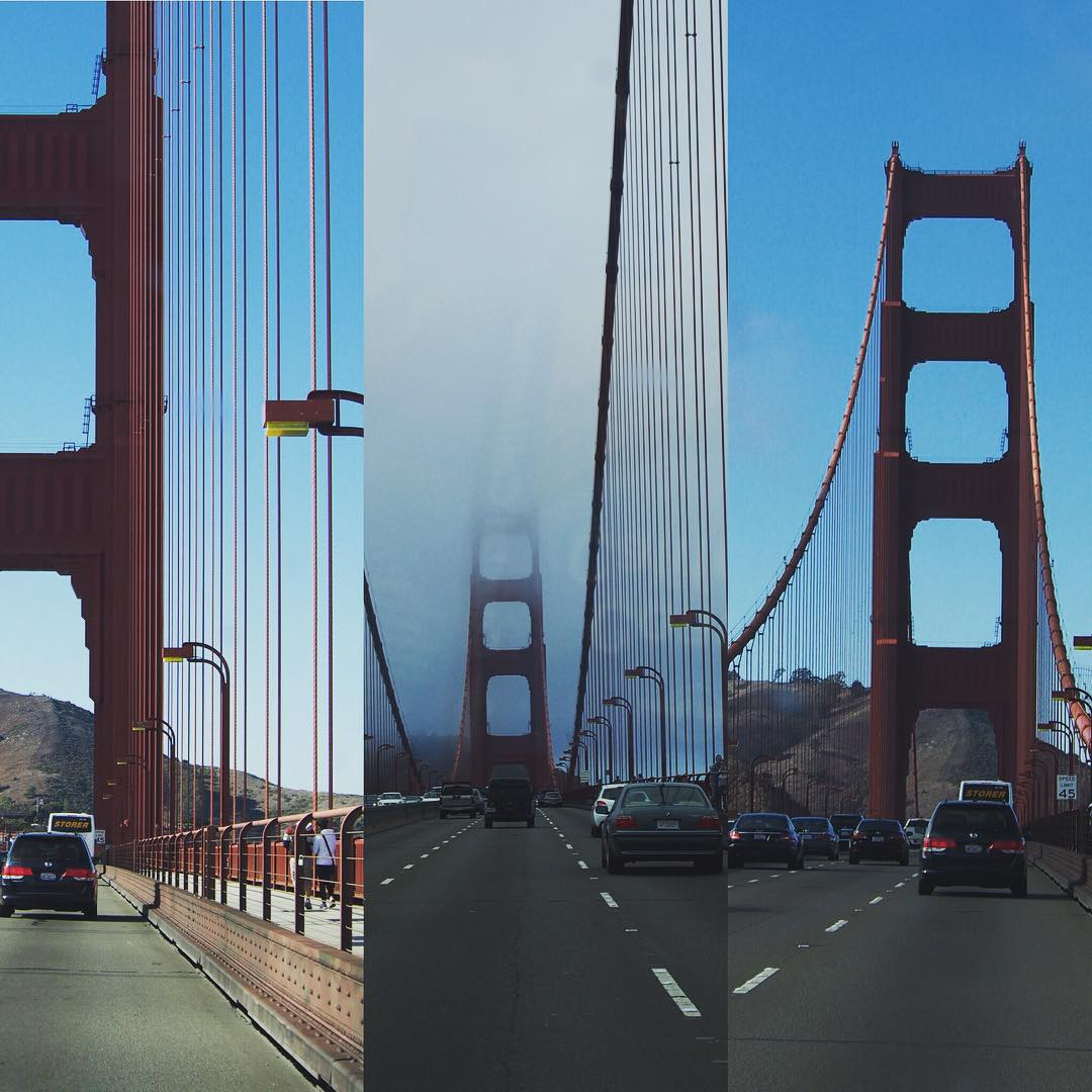 Golden Gate Bridge. Don't need to say where. Always got its head in the clouds in the morning. It is seriously romantic. I want to walk it tomorrow. These are taken from the car