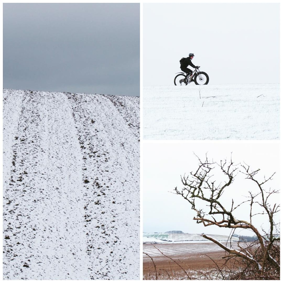 Ditchling Beacon. SNOW. Thank you.  Crazy bike. Scratched landscape
